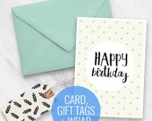 Printable Birthday Card, Gift Tags and Wrapping Paper Set - Mint Dots Design, Gift Wrapping, Happy Birthday, Greeting card + tags