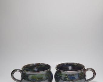 Vintage Cascadia Stoneware USA Pottery 3 Cup Soup Cups, Stoneware Soup Cups, Large Glazed Stoneware Soup Cups, Pottery Soup Cups