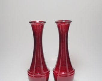 Vintage Pair of Ruby Red Glass Vases, Ruby Red Glass Vases, Ruby Red Glass, Vintage Red Glass, Red Glass, Ruby Red Home Decor, Red Vase