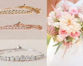 Bridesmaid Bracelet, Gold Crystal Bridal Bracelet, Bangle, Wedding Bracelet, Bridal Jewelry, Wedding Jewellery, Rowan Bracelet
