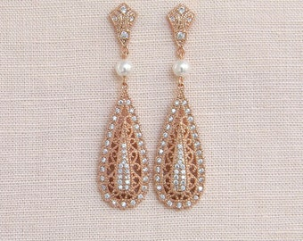 Rose gold Bridal earrings,  Wedding Earrings, Swarovski Pearl Crystal Wedding Jewelry Bridal jewelry, Shelby Vintage Drop Earrings