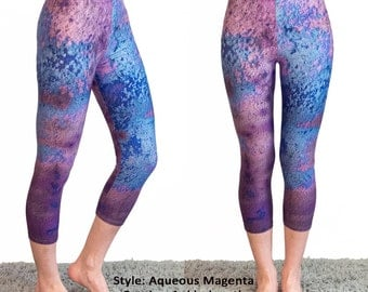 Aqueous Magenta Leggings - Yoga Workout Wear Blue Purple Pink