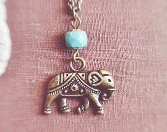 bohemian turquoise elephant necklace