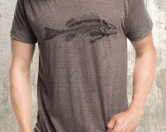 Men's Fish Diagram T-Shirt - Men's Tri Blend T-Shirt - American Apparel Screen Printed Shirt
