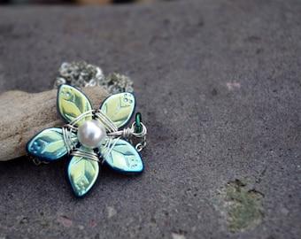 Iridescent Blue Flower Necklace