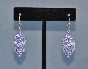 RED CARPET Genuine Tanzanite Earrings,Sterling Silver Gemstone Drop Earrings,5.2 Carat Tanzanite Custer Earrings,Statement,Fine Jewelry,Gift
