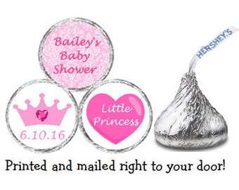Printed 216 Personalized Baby Shower Princess Crown Stickers Chocolate Kiss® Candy - Pink Damask Labels for Favors  ** Discounts Available