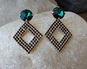 Emerald stud earrings. Green and black rhombus earrings. Swarovski crystal earrings. Rhinestone jewelry for bride. Bridesmaid gift . For her