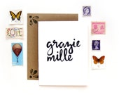 Grazie Mille Thank You Card | Handwritten Brush Lettering Foreign Thank You Card