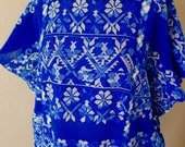 "Collector Mexico handwoven huipil tunic cobalt blue white floral patterns SuperFino Amuzgos Oaxaca  Frida Kahlo 30""W x 34 1/2"" L"