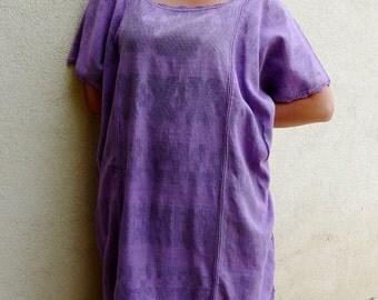 "Collectors Mexican Oaxacan huipil tunic dress handwoven cotton Cotzocon purple elegant boho resort Frida Kahlo  33""W  x 38""L"