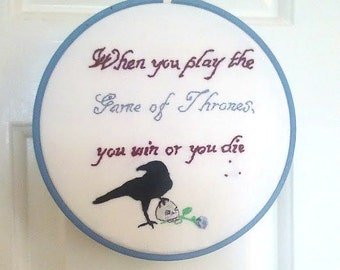 "Book Lovers Gift. Favourite Quote Custom Embroidery Hoop. Personalised literary fan art designed to your specification in 6, 8 or 10"" hoop."