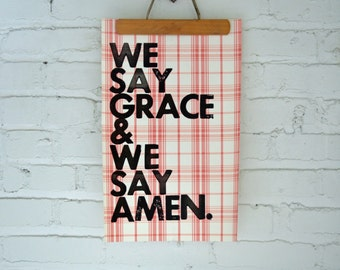 Real Letterpress Print Song Lyrics on Fancy Wallpaper Sample Page Grace and Amen Kitchen Art