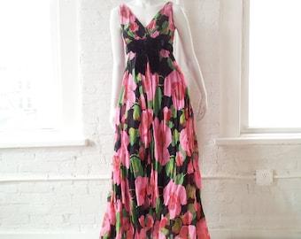 1960s Pink Rose Black Silk Chiffon Ball Gown Prom Dress 60s Vintage Maxi Dress Full Skirt Small Boho Cocktail Garden Party Babydoll Dress