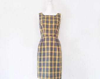 1960s Gray Yellow Plaid Cotton Shift Dress 60s Vintage Mod Mid Century Modern Pencil Skirt Small Medium Mad Men Summer Wiggle Sheath Dress