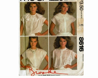 Brooke Shields Sleeveless Tops with Heirloom style Collars Size Small 10-12 Bust 32 1/2-34 1980s Uncut Sewing Pattern McCalls 8616