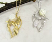 Swallow and Rose Necklace