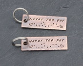 HIS and HERS Keychains, Boyfriend Gift, Girlfriend Keychain, College Student Gift, High School Student Gift, Miles Apart but Close at Heart