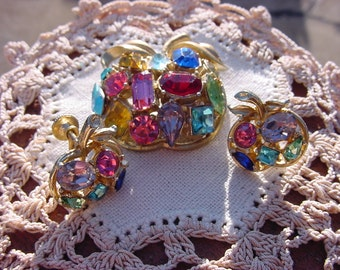 Early Coro Fruit Salad Demi Parure Rhinestone Brooch and Earrings