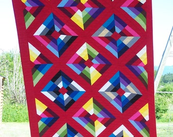 Ready to Ship, Modern Quilt, Twin Quilt, Quilt Set with Pillows, Quilts for Sale, Gender Neutral, Kite Flight, Handmade, Busy Hands Quilts