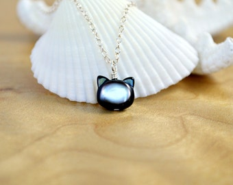 Black Cat Necklace - Black Mother of Pearl Cat Necklace /Sterling Silver Necklace /Black Kitten /Cat Jewelry /Mother of Pearl Necklace