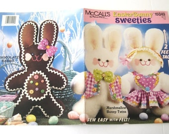 Stuffed Boy and Girl Bunny Doll Pattern, McCalls Creates 15049, 24 inch Plush Doll Sewing Pattern, Easter Bunny Sweeties, with Clothes 1990s