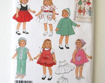 "1950s Doll Clothes Wardrobe Pattern Simplicity 2454 16"" & 18"" Doll Dress, Pinafore, Sun Suit, Pajamas, Coat, Hood, Slip Panties 2010 UNCUT"