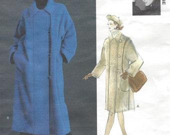 90s Jennifer George Womens A-Line Unlined Coat Vogue Sewing Pattern 1433 Size 6 8 10 12 14 16 18 20 22 Bust 30 1/2 to 44 UnCut