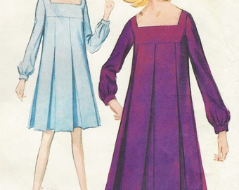 60s Womens Pleated Tent Dress Square Neckline McCalls Sewing Pattern 8366 Size 10 Bust 31 UnCut Vintage Sewing Patterns Kawaii Dress