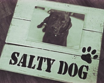 Salty dog, dog picture frame, wood plank sign,  picture frame for pet