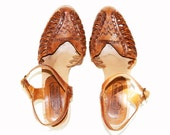 Vintage Leather Huaraches Wedges Shoes Aztec Woven  BRAZIL