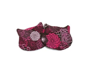 Cat Shaped Coasters, Drink Mats, Brown Pink & White Floral, Fabric Coasters, Set of 2, Cat Lovers Gift, Gift for Her