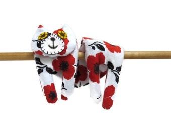 Flat Cat Rice Heat Cold Pack Microwavable - Neck Shoulder Microwave Heat Pack Cold Pack - Red Black White Poppy Flowers #2