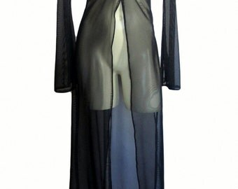 Classic Robe in Sheer Mesh Spandex Bedroom or Stage Stripper One Size You Chose Color