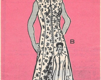 Bust 38-FACTORY FOLDED 1974 Misses' Long or Short Dress Mail Order 4807 Size 34 Waist 31 Hip 40