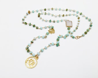 African Opal Beaded Chain with Gold Vermeil Lotus Flower Pendants and White Druzy Connector, Bohemian Necklace, Layered Necklace