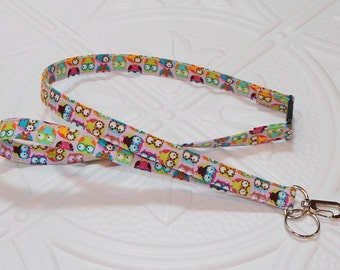 Breakaway Lanyard  ID Badge Lanyard Key Lanyard Id Lanyard Teacher Gift Pink Cute Owls