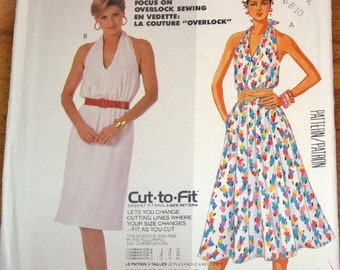 McCall's 2473 Halter Dress, Slim or Full Skirt Womens Misses Vintage 1980s Easy Sewing Pattern Size 6 8 10 Bust 30 31 32 Uncut Factory Folds