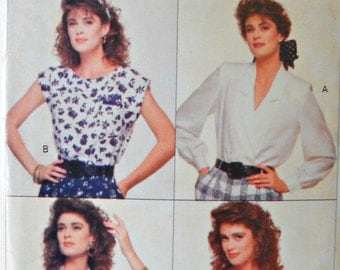 Butterick 6085 Blouse and Top Pattern, Size 12, 14, 16, Factory Folded Uncut, Vintage 1988