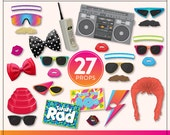 Printable 80s Photo Booth Props | 27 Printable 80s Props | Instant Download | 80s Photo-Booth Clipart
