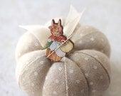 Mrs. Rabbit Needle Minder Beatrix Potter Christmas gift Secret Santa cross stitch Easter children's story embroidery tool