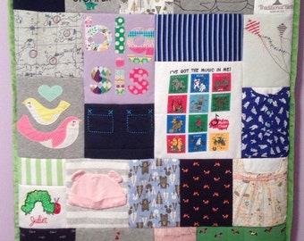 Keepsake baby clothes quilt, memory blanket, wall hanging