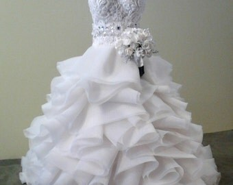 Replica Miniature Wedding Gown and Bouquet-commissioned art deposit
