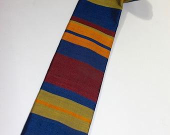 "vintage 60's - 70's -Rooster- Men's neck tie. 'Original Thai Silk' - Hand Woven. Wider 3"" width. Original price tag."