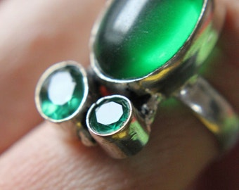 SPRING SALE 60% off! Green Onyx and Chalcedony Hand Forged Ring Valentines Gift