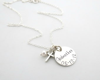 Personalized Godmother Necklace - Baptism Gift - First Communion Gift - Personalized Necklace - From Godchild - Personalized Jewelry