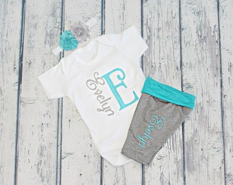 Personalized Baby Clothes Baby Girl Outfit Personlized Baby Girl Leggings Newborn Girl Coming Home Outfit Personalized Newborn Baby Gift