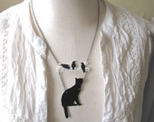 Cat and Birds Twig Jewelry Statement Animal Necklace Branch Lucky Pet Lover Black Silhouette