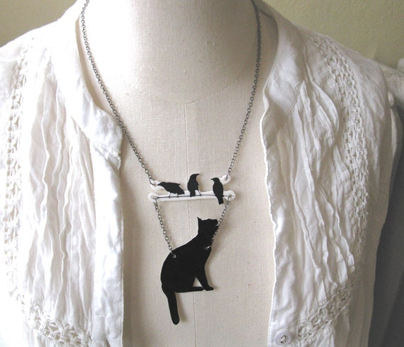 Cat Lover Gift with Birds Necklace Twig Jewelry Statement Animal Branch Lucky Pet Lover Black Silhouette