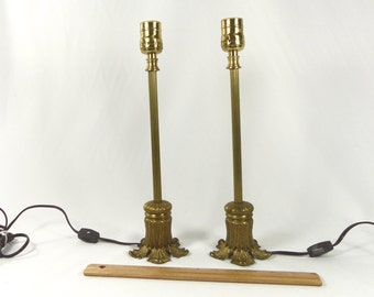 Table Lamps Pair Solid Brass Small Custom Hand Made Vintage Parts by Judi's Lamps